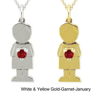 10k Gold Birthstone Little Boy Designer Necklace