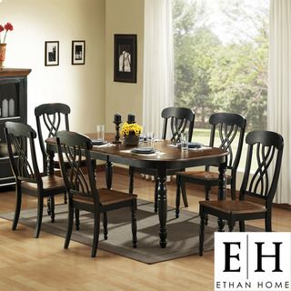 ETHAN HOME Mackenzie 7 piece Country Black Dining Set