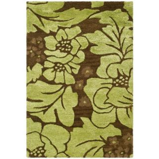 Handmade Soho Garden Lime Green/ Brown N. Z. Wool Rug (2 x 3