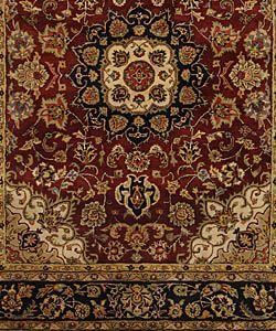 Handmade Classic Kerman Burgundy/ Navy Wool Rug (96 x 136