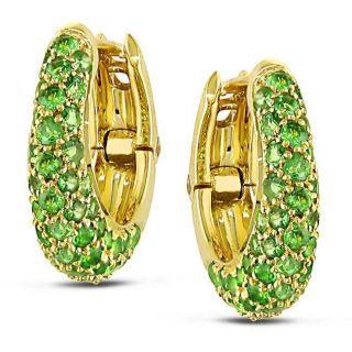 18k Yellow Gold Green Sapphire Hoop Earrings