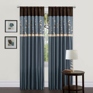 Lush Decor Blue/ Brown 84 inch Cocoa Blossom Curtain Panels (Set of 2