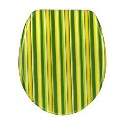 Green Cabana Stripe Designer Melamine Toilet Seat Cover