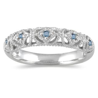 10k White Gold 1/10ct TDW Blue Diamond Ring (I1 I2)