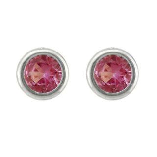10k Gold June Birthstone Bezel set Rhodolite Designer Stud Earrings