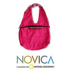 Cotton Pink Wilderness Large Hobo Shoulder Bag (Indonesia