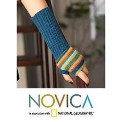 Alpaca Wool Andean Sunrise Fingerless Mitt Gloves (Peru)