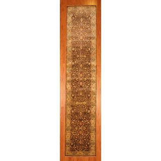 Indo Hand knotted Brown/ Beige Oushak Wool Rug (29 x 137