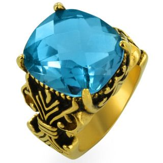 Gold plated Stainless Steel Multi faceted Aqua Gem Fleur De Lis Ring