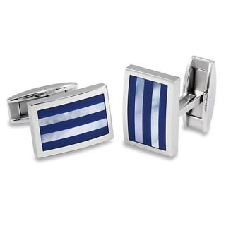 Stainless Steel Blue Resin and Mother of Pearl Striped Inlay Cuff