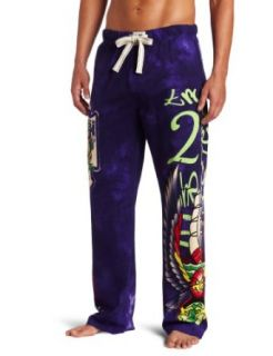 Ed Hardy Mens Eagle Vintage Pant, Purple, X Large