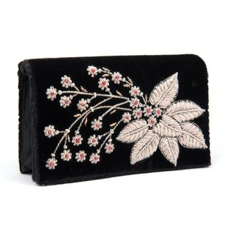 Black Silk Velvet Evening Bag with Embroidered Flower (India