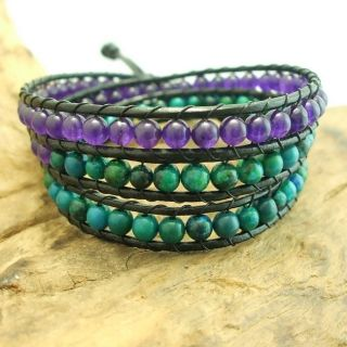 Chic Mix Amethyst Malachite Triple Wrap Leather Bracelet (Thailand