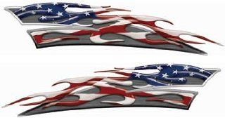 Reflective American Flag Motorcycle Gas Tank Flame Decals :