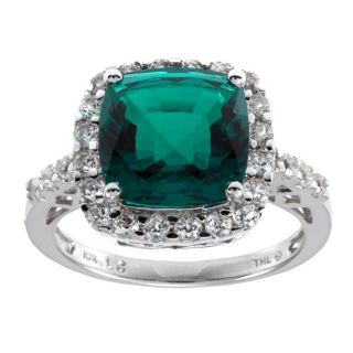10k White Gold Lab created Emerald and White Sapphire Ring
