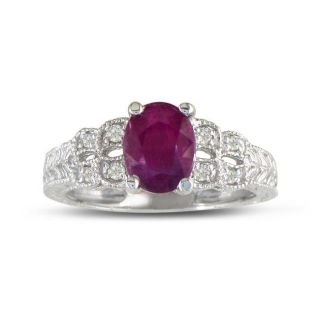 10k White Gold Ruby and 1/10ct TDW Diamond Ring (H I, I1 I2