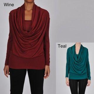 AnnaLee + Hope Womens Long Sleeve Drape Front Top