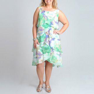 Fashions Womens Plus Floral Printed Dress