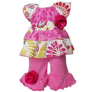 AnnLoren 2 piece Hawaiian & Sunburst Floral Outfit fits American Girl