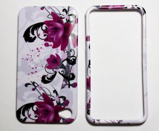 Apple iPhone 4 Purple Flower Hard Skin Cover Case