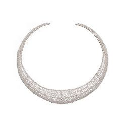 Sterling Silver Moon Weave Choker Necklace (Indonesia)