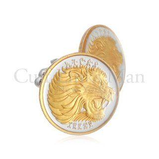 Ethiopia Twenty Five Cent Lion Head Coin Cufflinks GCL