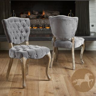 Christopher Knight Home Bates Tufted Grey Fabric Dining Chairs (Set of
