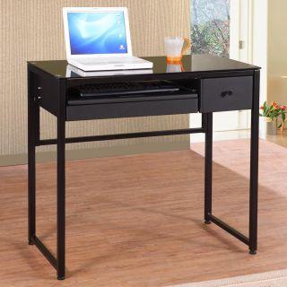 Allaire Tempered Glass Black Computer Desk