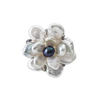Sterling Silver White Keshi and Black Freshwater Pearl Flower Ring (6