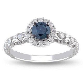 Miadora 14k Gold 1/2ct TDW Blue and White Diamond Halo Ring