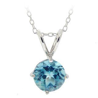 Glitzy Rocks Sterling Silver Swiss Blue Topaz Solitaire Necklace