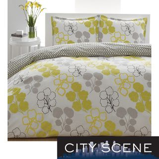 City Scene Pressed Flower 3 piece Duvet Cover Set
