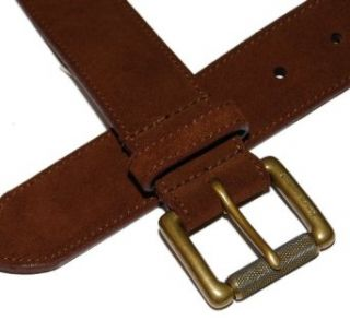 Polo Ralph Lauren Mens Suede Leather Brown Gold Brass Belt