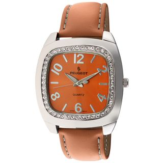 Peugeot Womens Orange Leather Strap Watch