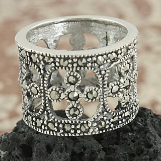 Sterling Silver Marcasite Open Filigree Wide band Ring (Thailand