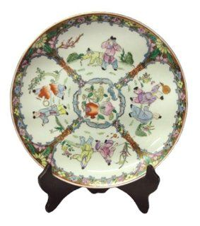 Chinese porcelain plate, boys and pomegranate design