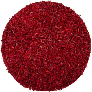 Hand woven Mandara Red Leather Shag Rug (3 Round)