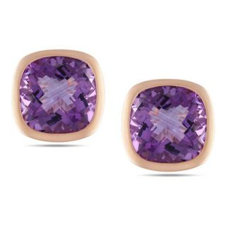 14k Pink Gold Cushion cut Amethyst Stud Earrings