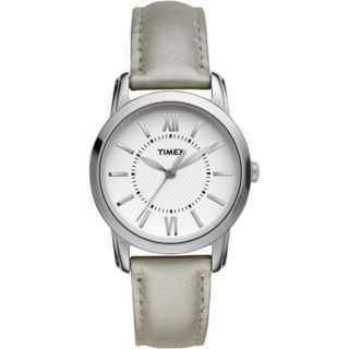 Timex Womens Style Chic Silver Leather Strap Watch