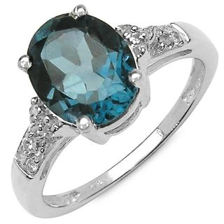 Malaika Sterling Silver Oval cut London Blue Topaz and White Topaz