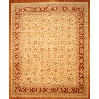 Afghani Hand knotted Oushak Vegetable Dye Ivory/ Red Wool Rug (12 x