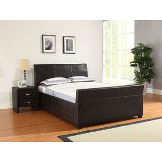 Quad Cal King Size Brown Faux Leather Storage Bed