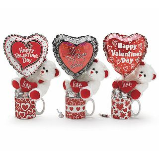 Valentines Day Teddy Bear Gift Mugs and Candy (Set of 3)