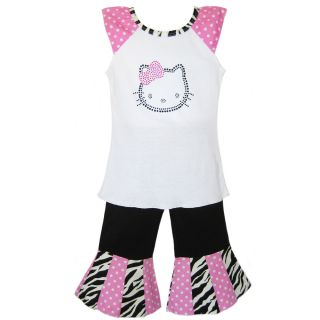 AnnLoren Girls 2 piece Hello Kitty Shirt and Capri Set