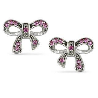 Sterling Silver Created Pink Sapphire Bow Earrings