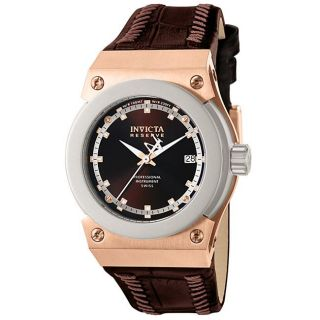 Invicta Midsize Mens Akula Brown Dial Brown Leather Watch