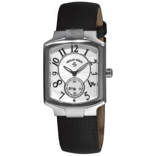 Philip Stein Womens Signature Classic Tank Black Strap Watch