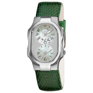 Philip Stein Womens Signature Forest Green Leather Strap Watch