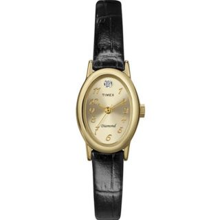 Timex Womens Casual Black Calfskin Leather Watch