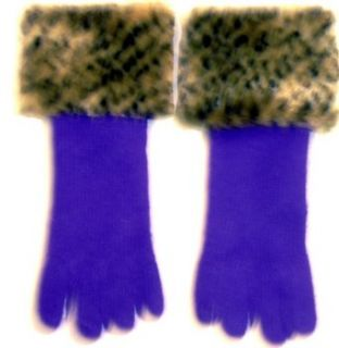 Purple Angora Wool Gloves Hand Trimmed with Fluffy Leopard
